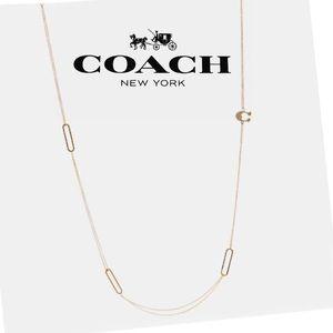 COACH Rose Gold Pave Signature Long Logo Necklace